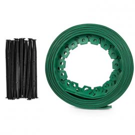 Бордюр для клумбы EASY BOARD зеленый 10м х 38мм, комплект кольев (Bradas)