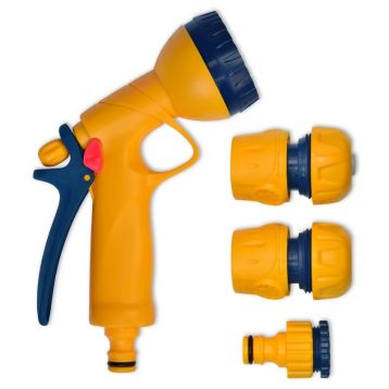 Набір для поливу №3 пістолет для поливу, з'єднувач 3/4, з'єднувач з аквастопом 3/4, адаптер 1/2, 3/4 (арт. 72-203) (Verano)