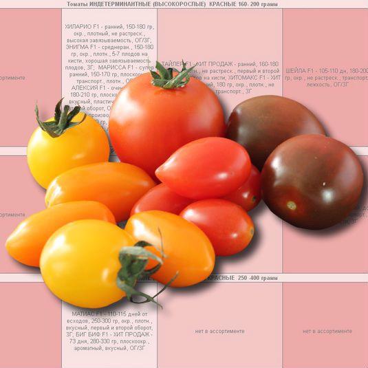 Купить семена томатов индетерминантных и полудетерминантных