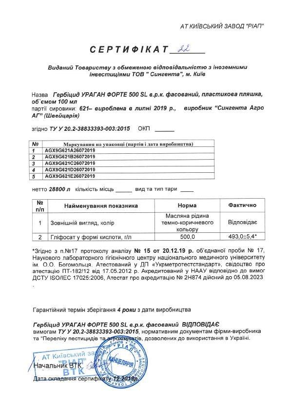 Сертификат гербицид Ураган Syngenta